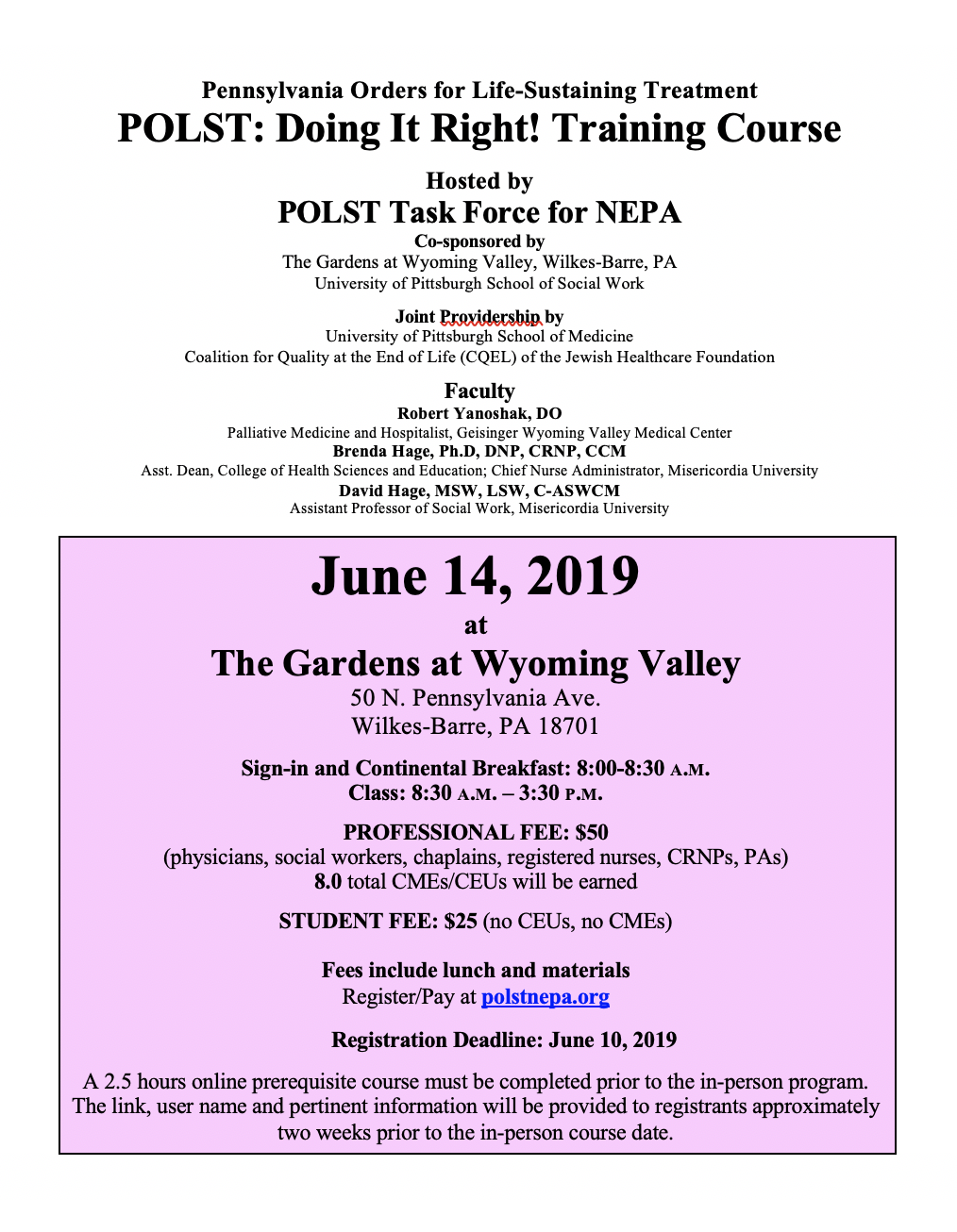 June 14 2019 POLST Training Flier