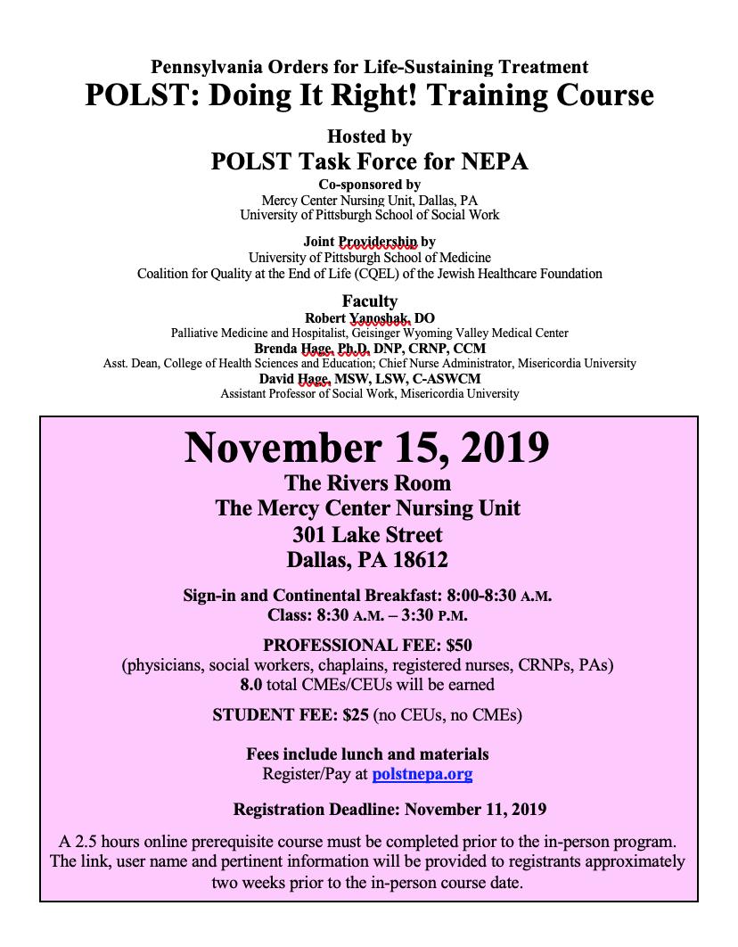 Nov 15 2019 POLST Training Flier