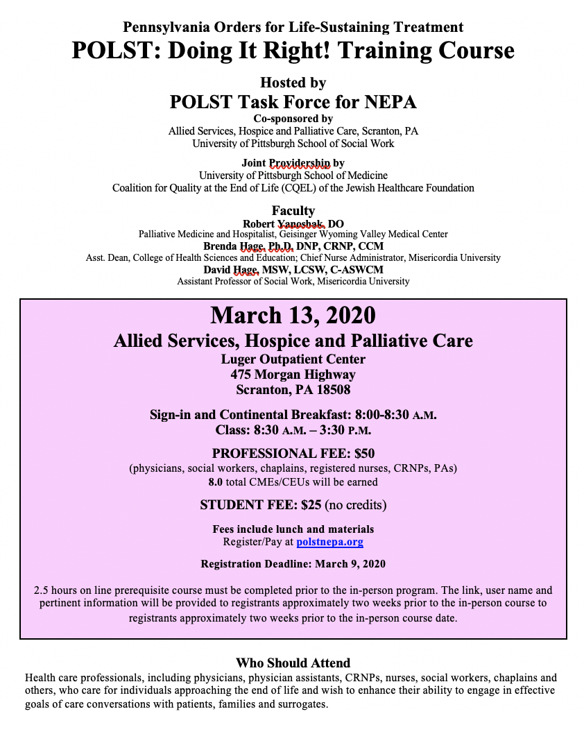 March 13 2020 POLST Training Flyer