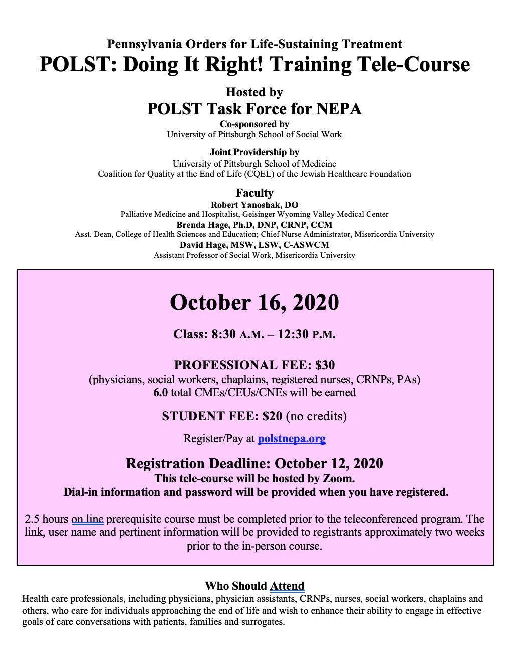 October 16 2020 POLST Training Flyer